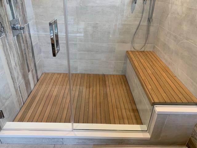 Carib Teak - Burmese Teak Shower Floor and Bench Set